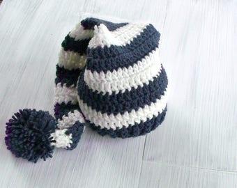 Striped Elf Hat, Baby Elf Hat Crochet Baby Hat, Newborn Baby Boy Hat, Denim Blue and Cream Newborn Baby Elf Hat, Baby Shower Gift