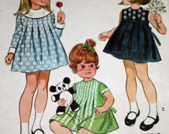 Vintage 1960s Sewing Pattern, McCall's 9653,  Toddlers' Dress, Toddlers' Size 3, Estate Sale Find