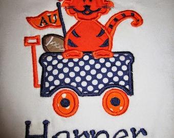 Girly Auburn Tiger Wagon Applique Shirt