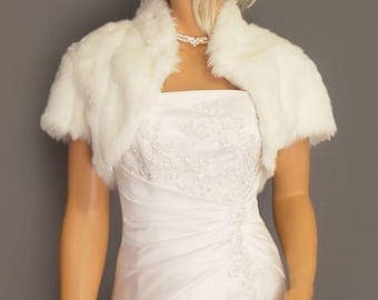 Faux fur bolero shrug jacket short sleeve with collar in Mink bridal wedding stole coat wrap, fur shrug FBA101 AVL in white & 2 other colors