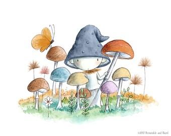 Parsley Willowmoss Is Shy  - Grey Blue Cap Mushroom Sprite - Fairy Art - Art Print