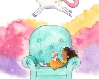 Unicorn Story - Brunette Girl Reading Book - Brown Skin - Art Print - Children