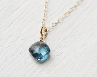 London Blue Topaz Necklace, Simple Necklace, Gift for her, Minimal Jewelry, Navy Drop Pendant