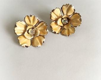 Vintage Yellow Enamel Flower Earrings Rhinestone Center Clip On