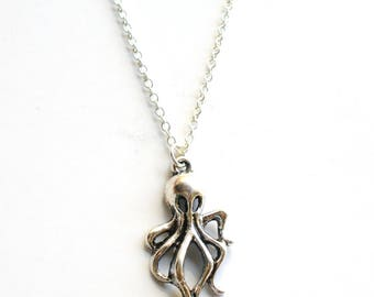 SALE -Amazing Silver Octopus Necklace -Sterling silver plated delicate necklace -Nautical Jewelry -Best Friend Gift, Sister Gift