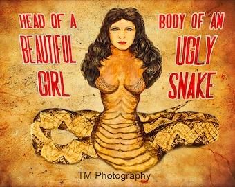 Circus Sideshow Poster Photo - Carnival - Circus - Sideshow - Freak show - Snake Woman - Beautiful Woman - Fine Art Photography