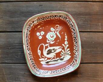 Vintage 1930's Mexican Folk Art Redware Pottery Platter or Rectangular Dish Tlaquepaque