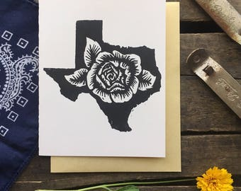 Texas Rose Block Print Card