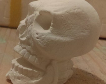 1 Skull Ready to paint Ceramic Bisque Hand made 2 inch Your paint