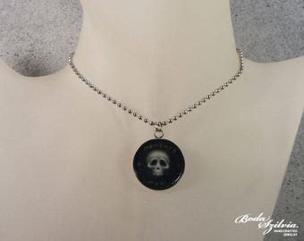 Memento mori stainless steel necklace - victorian pendant with original miniature skull painting - gothic mourning jewelry