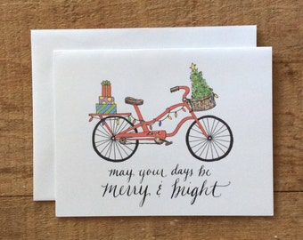Red Bicycle Holiday Card - May your days be Merry & Bright