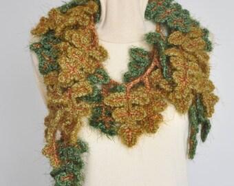 All Leaves - Furry - Green - Crochet Leaf Scarf
