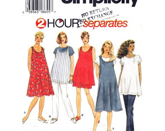Maternity Dress or Jumper Top Pants or Shorts Pattern Simplicity 7054 Womens Sewing Pattern Plus Size 18 20 22 24 UNCUT