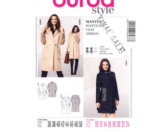 Womens Coat Pattern Burda 8292 Hooded Wrap Coat Stand Up Collar Toggle Closing Size 10 to 24 Sewing Pattern UNCUT