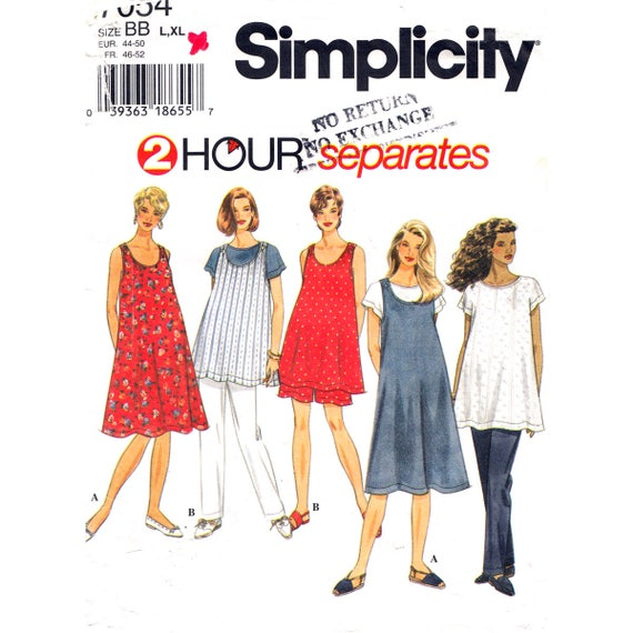 Maternity Dress or Jumper Top Pants or Shorts Pattern Simplicity 7054 Plus Size 18 20 22 24