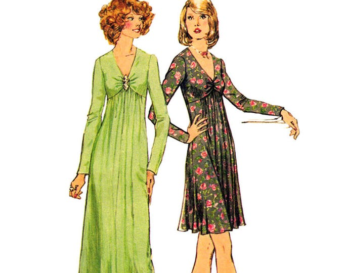 70s Empire Dress Sewing Pattern Simplicity 6024 Maxi Dress Gathered Front Women Bust 36