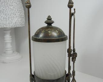 Antique Pickle Castor with Swirl design / Victorian serving piece / Urn / Silverplate and glass Pickle Caster / with tongs / home decor