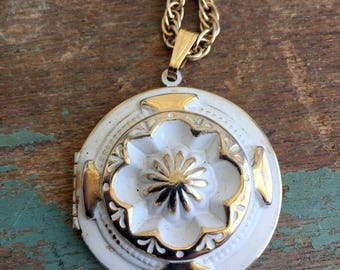 Vintage Large Locket Repousse White and Gold Enamel
