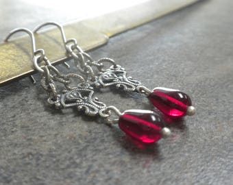Valentine Earrings Gift for Her Red and Silver with Niobium Ear Wires