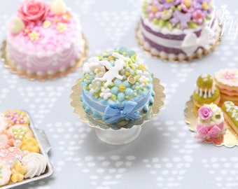 Aqua and Blue Blossom Cake with White Angel Decoration - Miniature Food in 12th Scale for Dollhouse