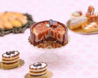 MTO - Autumn Caramel and Chocolate Cut Cheesecake - Tiny Miniature Food in 12th Scale for Dollhouse