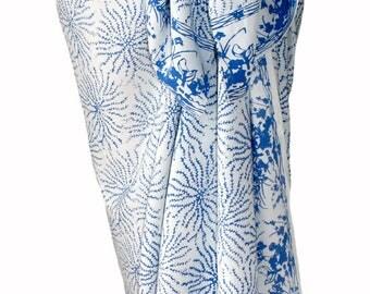 White Sarong Wrap Skirt Women's Clothing Batik Pareo Batik Beach Sarong Spa Skirt or Dress - White & Blue Sea Anemone Beach Cover Up - Gift