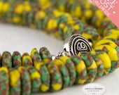 Ghana Necklace, Krobo Beads, Green Yellow Copper, Handcrafted, Recycled Glass Bead, African Beaded Necklace Necklace w Sterling Silver Clasp