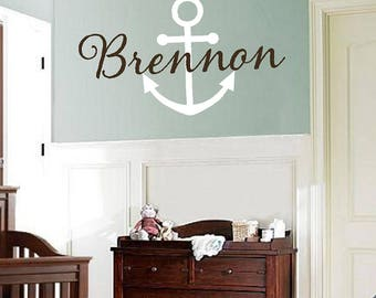 Anchor Decal with Name | Nautical Vinyl Wall Decal - Monogram Baby Boy or Teen Wall Decal with Boat Anchor fn0354