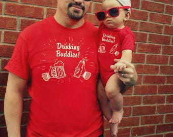 2 shirts funny DRINKING BUDDIES Father Son Daughter Matching Gift set Daddy Baby Shirt Family Outfits Old School retro tshirt FREE Shipping!