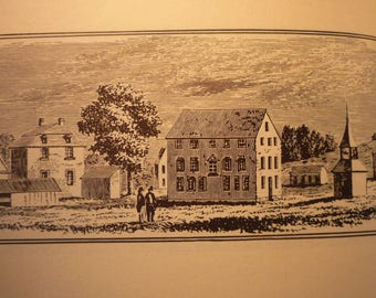 Lowell Massachusetts Town Engravings 1964 - New England Antiquarian Society - framable gift town history old mill town
