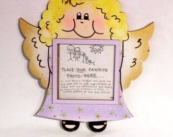 Angel Picture Frame - Hand Painted Wooden Frame