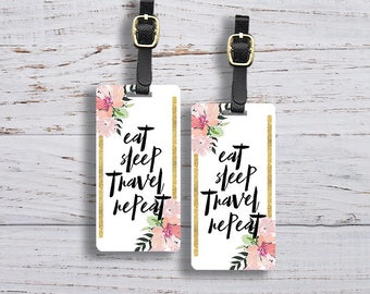 Personalized Luggage Tags Eat Sleep Travel Repeat Floral Luggage Tag - Single Tag or Set Available