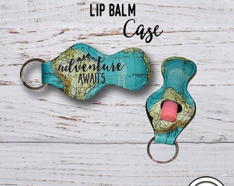 Lip Balm Keychain Case,  Adventure awaits Vintage Map Chap stick Key Ring Carrying Cozy Holder
