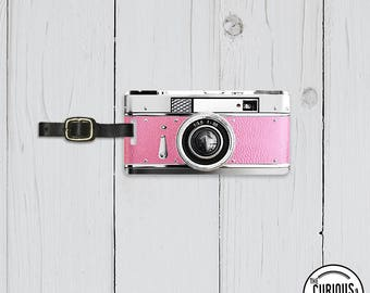 Luggage Tag  Camera  Personalized Luggage Tag  - Single Tag with strap
