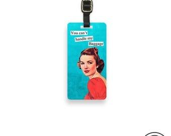 Luggage TagHandle My Baggage Sassy Retro Woman Metal Luggage Tag Printed Personalized Custom Info On Back , Single Tag