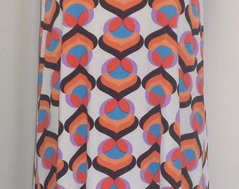 Plus Size Tank Top, Plus Size Tunic, Coco and Juan, Lagenlook, Pink Orange Print, Angled, Tank Top Size 1 Fits 1X,2X Bust  to 50 inches