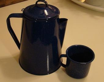 Vintage Blue Enamel Coffee Pot/Percolator and Cup, Farmhouse Cottage Rustic Decor Camping Pot