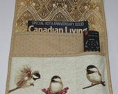 Armchair Caddy, Bedside Caddy, Quilted, Chickadees, Gold Tan Beige