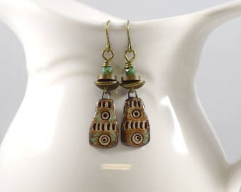 Handmade Brown Stoneware Earrings, Ceramic Earrings, Boho Earrings, Brown and Tan Earrings, Brass Earrings, Artisan Earrings, OOAK, AE154