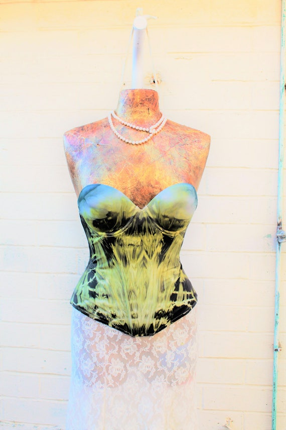 Vintage Structured Corset Music Festival Clothing/Tie Dye Bustier/Steampunk Corset/Shambhala/Burning Man/Lightning in a Bottle/Fairy Bra