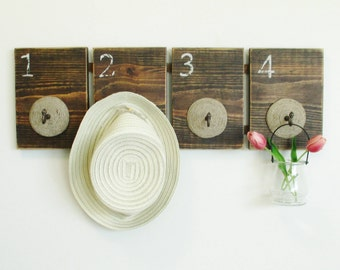 Unique Coat and Hat Rack on Rustic Reclaimed Wood Boards..Country Farmhouse Wall Decor...Stained Weathered Shelf with Hooks...Ready to ship