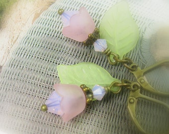 Leaf and Flower Earrings, Swarovski Crystal, Woodland Jewelry, Antiqued Brass, Gifts for Gardeners, Pale Dogwood Pink Earrings, Boho Chic