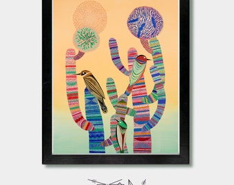 Arizona, Sonoran Sunset - Cactus Art, Tucson, Phoenix, Mexico, Mexican, Cactus Print, Mexican Folk, Folk Art, Southwest, Colorful Art, Birds