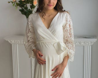 All White Maternity Robe from my Paris Inspirations Collection - Statement Sleeves in White - Perfect for maternity shoot