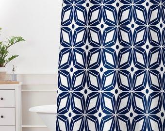 Midcentury Geometric Shower Curtain // Bathroom // Geometric // Shower // Bathroom Decor // Blue // Home Decor //Starburst Navy Design