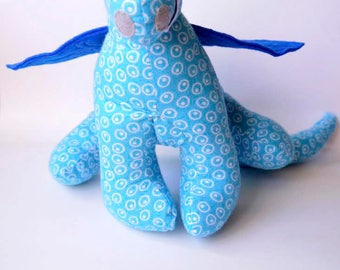 """Stuffed Animal Dragon Toy 10"""" tall, 22"""" wide in Blue and White Spotted Flannel Fabric, Baby Friendly Toy for boys and girls"""