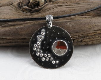 Unique pendant with Michigan puddingstone, sterling silver and leather chain N2233