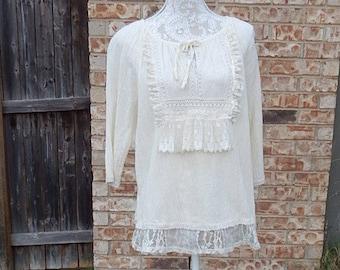 Creme Cotton Altered Blouse, BoHo style, shabby chic, romantic blouse, size XL, cottage chic , mori girl style, Lace embellished, Feminine