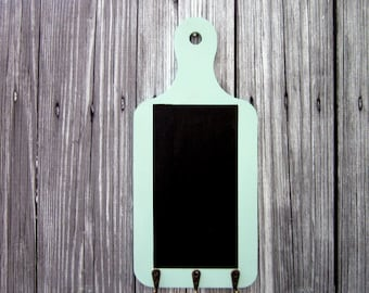 Chalkboard, Key Hooks, Green, Blackboard, Hanging Chalkboard, Office, Grocery List, Kitchen, Entryway, Mudroom, Painted Wood