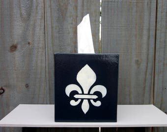 Tissue Cover, Fleur de Lis, French Country, Charcoal Gray, Tissue Box Cover, Boutique Size, Home Decor, Hand Painted, Tissues